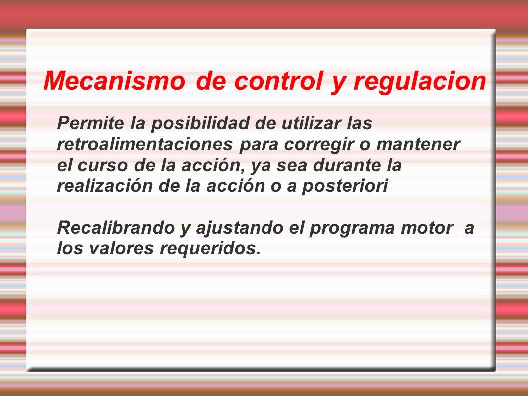 Mecanismo de control y regulacion