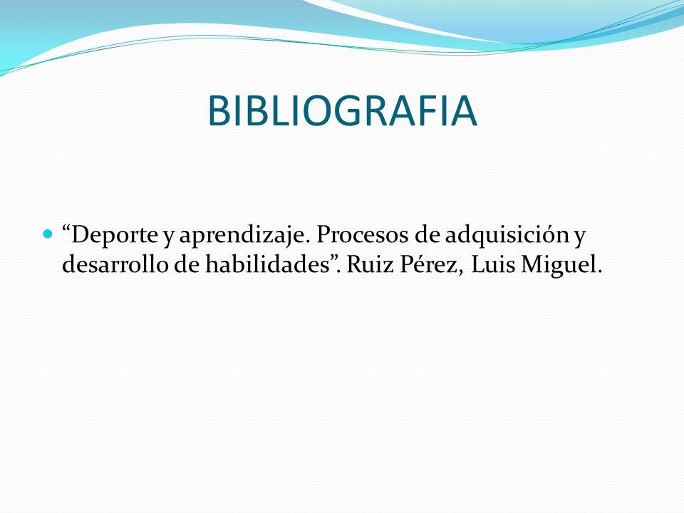 BIBLIOGRAFIA Deporte y aprendizaje. Procesos de adquisición y desarrollo de habilidades .