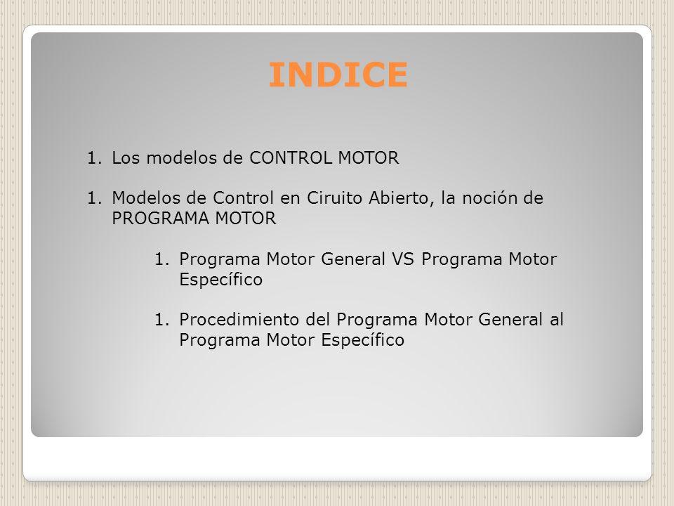 INDICE Los modelos de CONTROL MOTOR