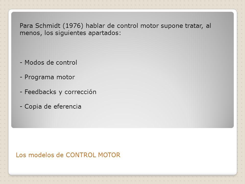 Para Schmidt (1976) hablar de control motor supone tratar, al menos, los siguientes apartados: