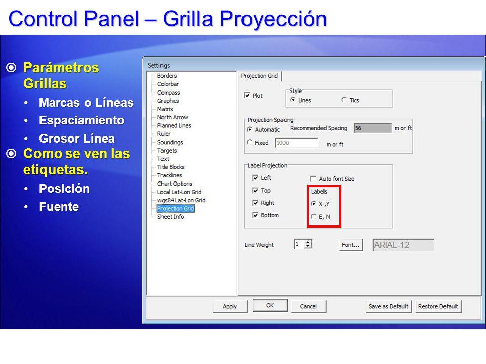 Control Panel – Grilla Proyección