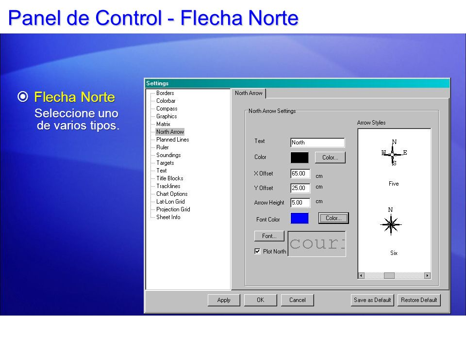 Panel de Control - Flecha Norte