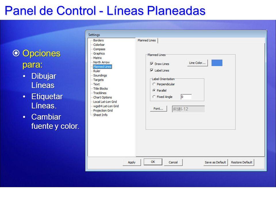 Panel de Control - Líneas Planeadas
