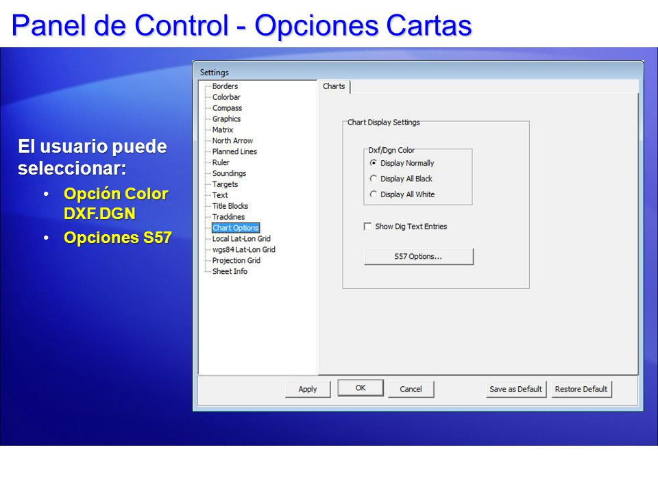 Panel de Control - Opciones Cartas