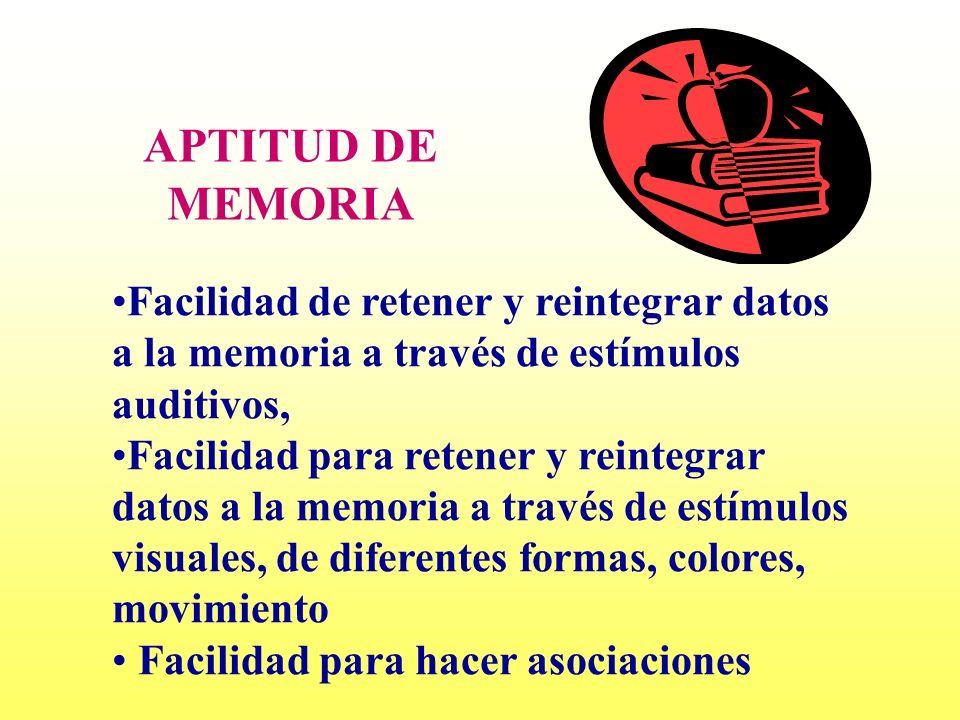 APTITUD DE MEMORIA Facilidad de retener y reintegrar datos a la memoria a través de estímulos auditivos,