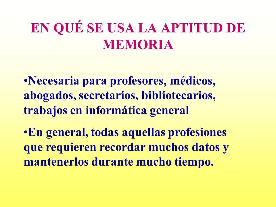 EN QUÉ SE USA LA APTITUD DE MEMORIA