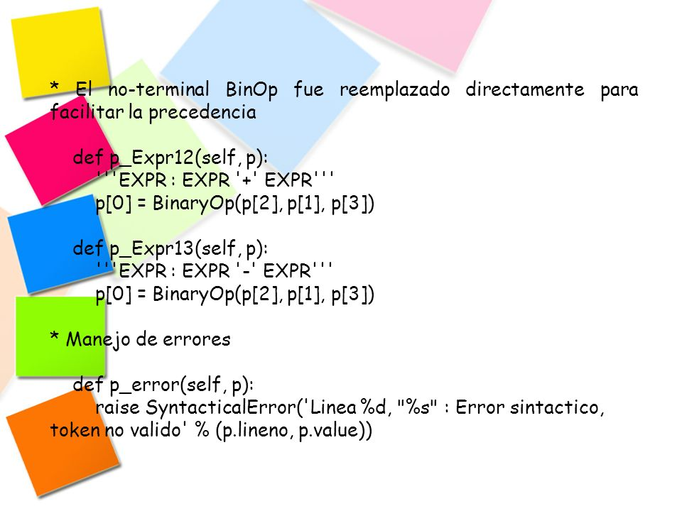 * El no-terminal BinOp fue reemplazado directamente para facilitar la precedencia