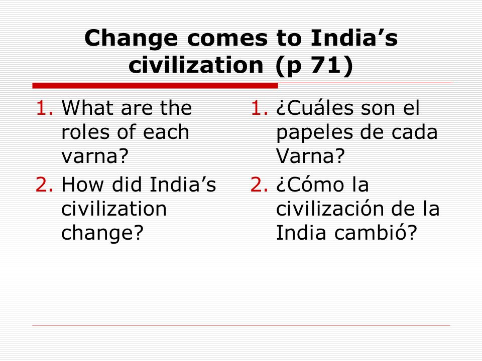 Change comes to India's civilization (p 71)