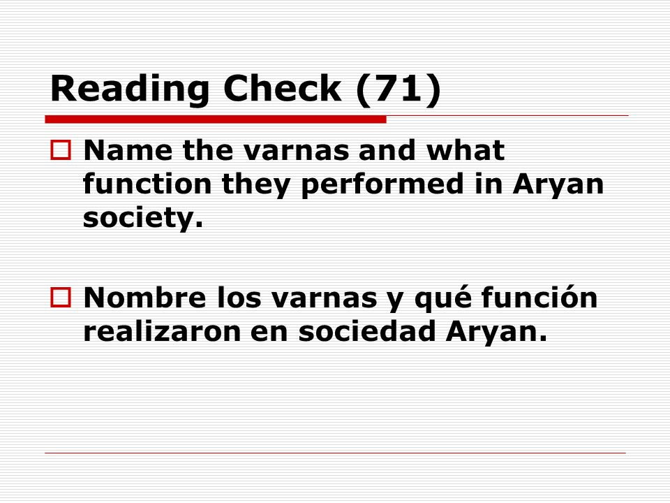 Reading Check (71)Name the varnas and what function they performed in Aryan society.
