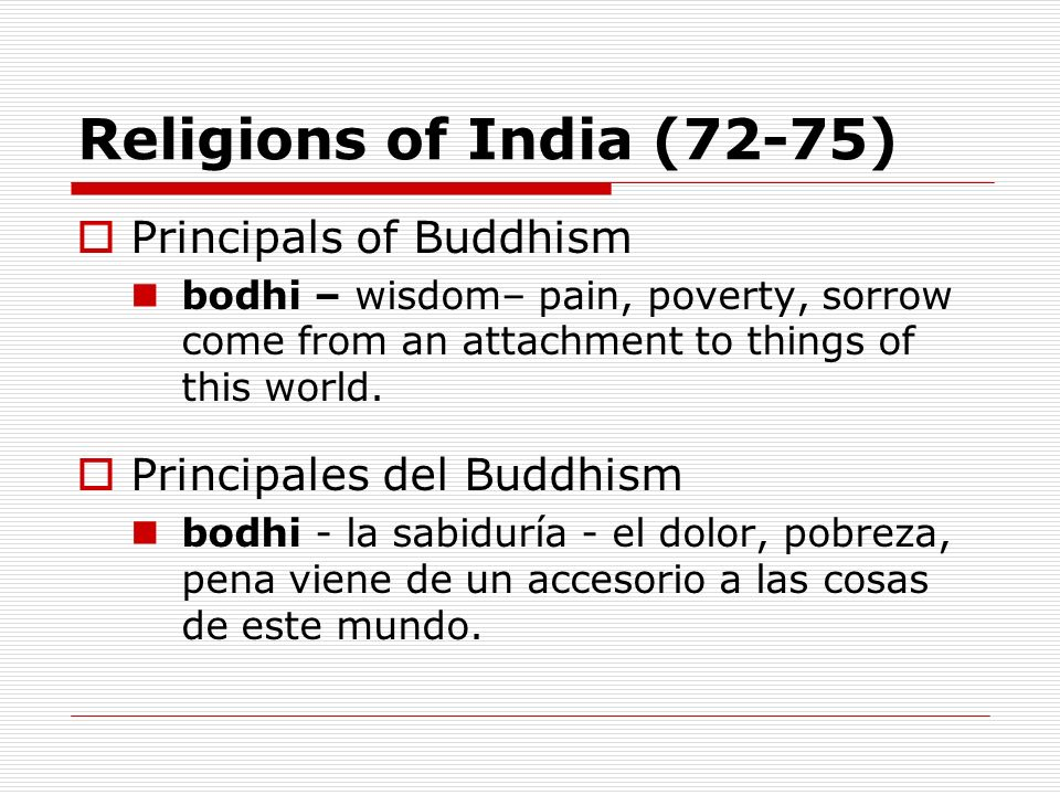 Religions of India (72-75) Principals of Buddhism