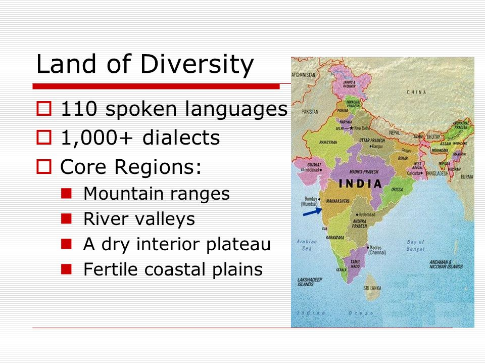 Land of Diversity 110 spoken languages 1,000+ dialects Core Regions: