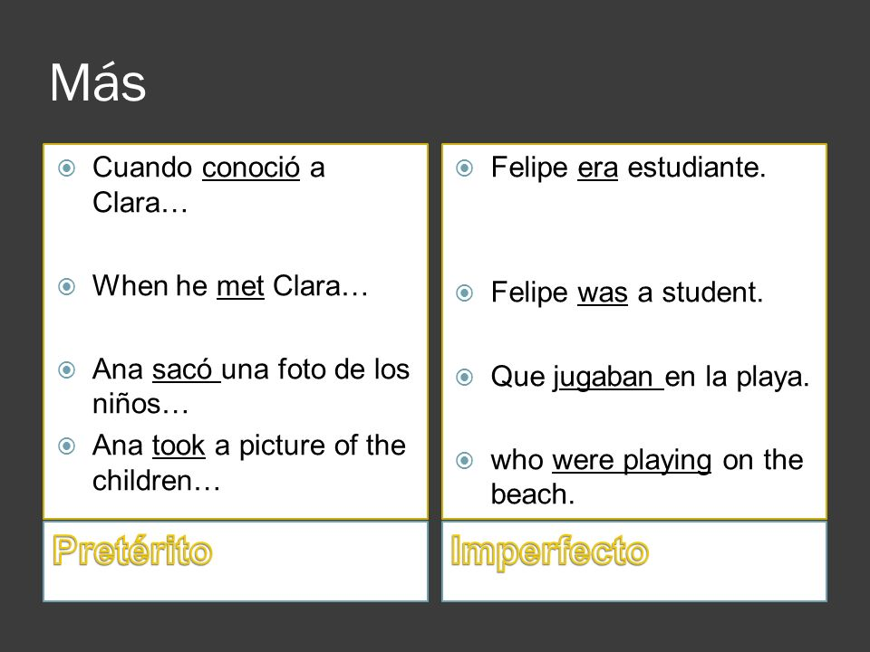 Más Pretérito Imperfecto Cuando conoció a Clara… When he met Clara…