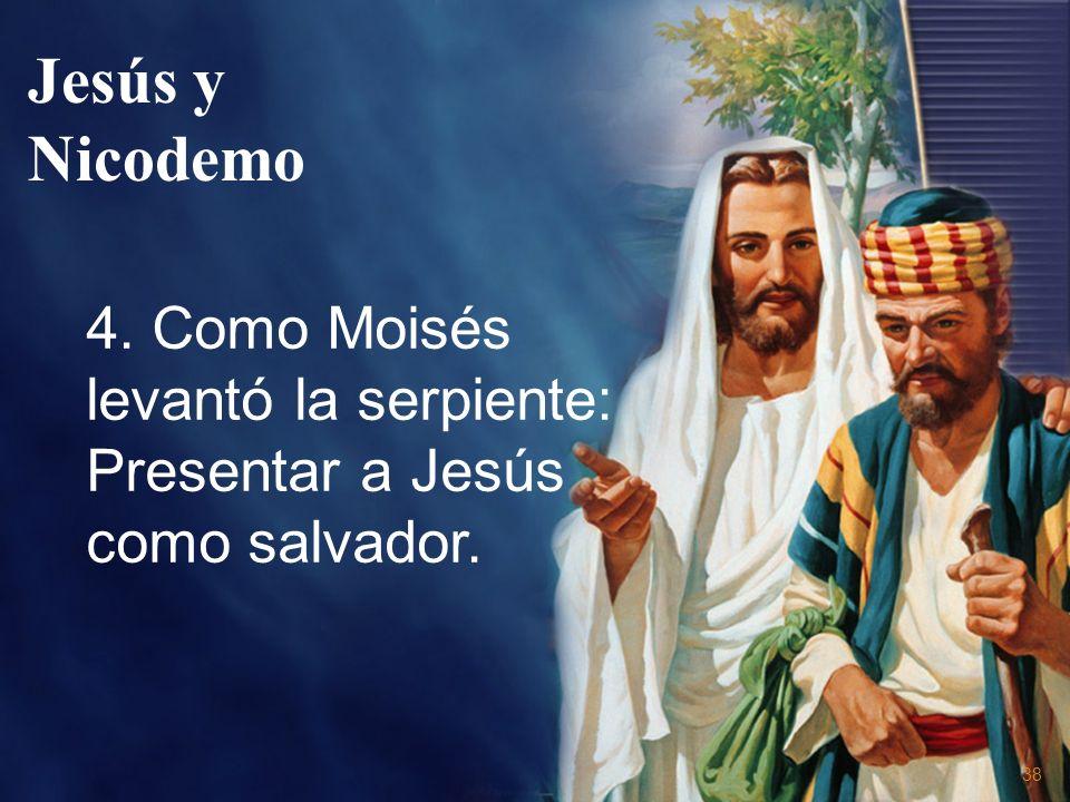 Jesús y Nicodemo 4. Como Moisés levantó la serpiente: Presentar a Jesús como salvador.