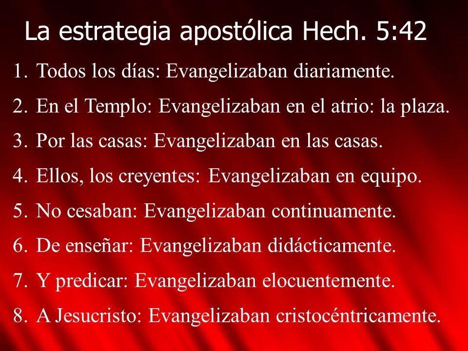 La estrategia apostólica Hech. 5:42