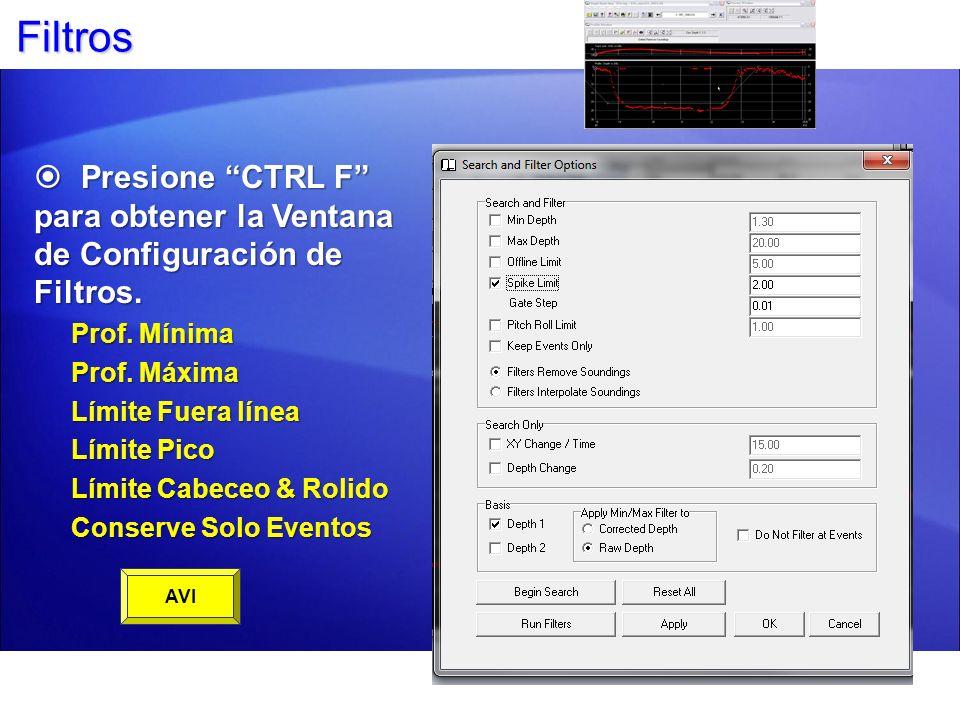 FiltrosPresione CTRL F para obtener la Ventana de Configuración de Filtros. Prof. Mínima. Prof. Máxima.