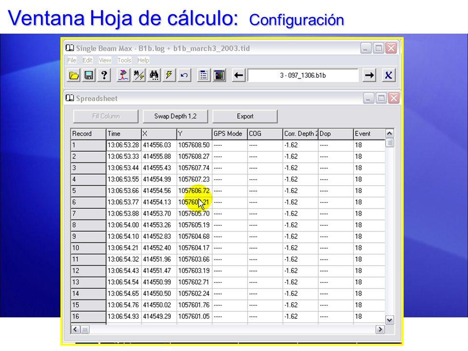 Ventana Hoja de cálculo: Configuración