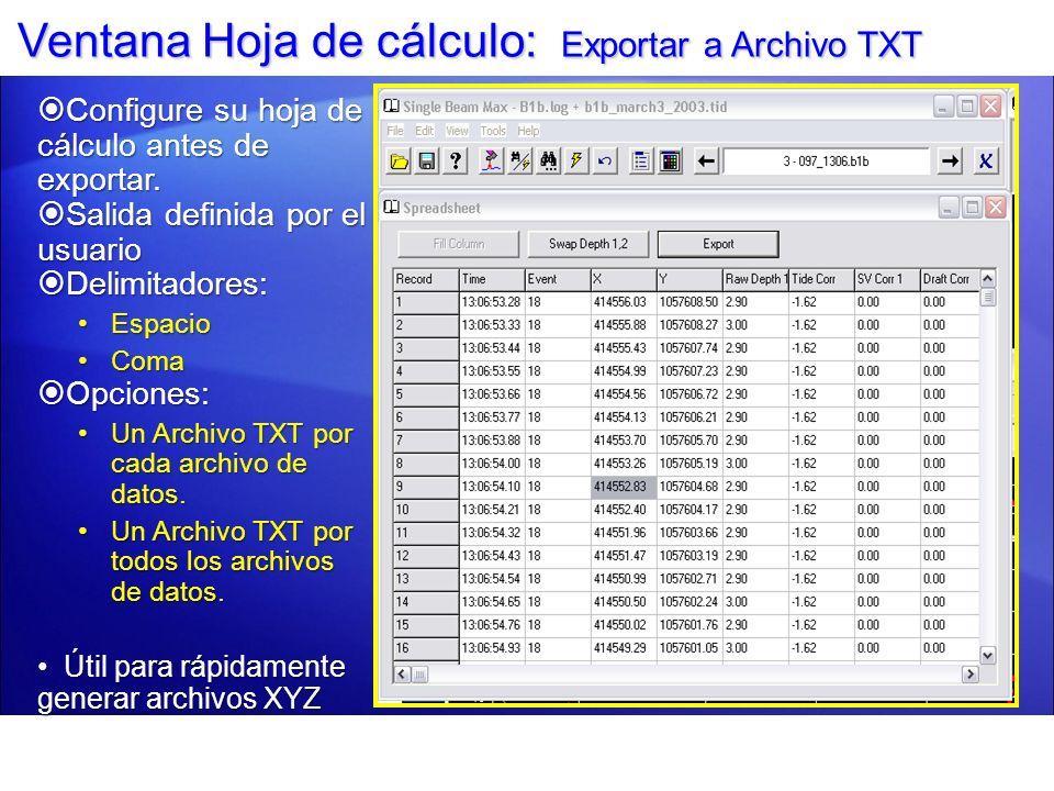 Ventana Hoja de cálculo: Exportar a Archivo TXT