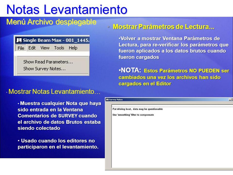 Notas Levantamiento Menú Archivo desplegable