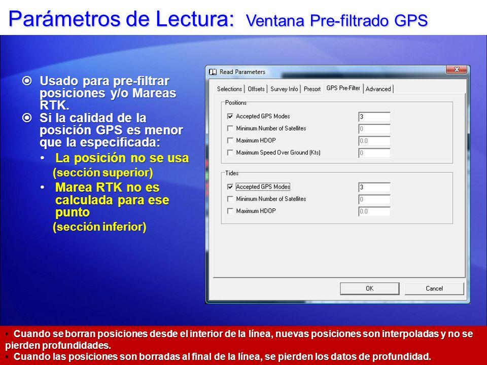 Parámetros de Lectura: Ventana Pre-filtrado GPS