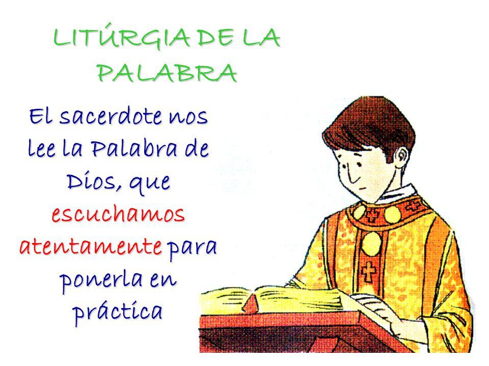 LITÚRGIA DE LA PALABRA El sacerdote nos lee la Palabra de Dios, que escuchamos atentamente para ponerla en práctica.