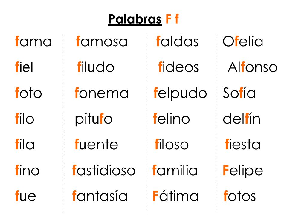 fama famosa faldas Ofelia fiel filudo fideos Alfonso
