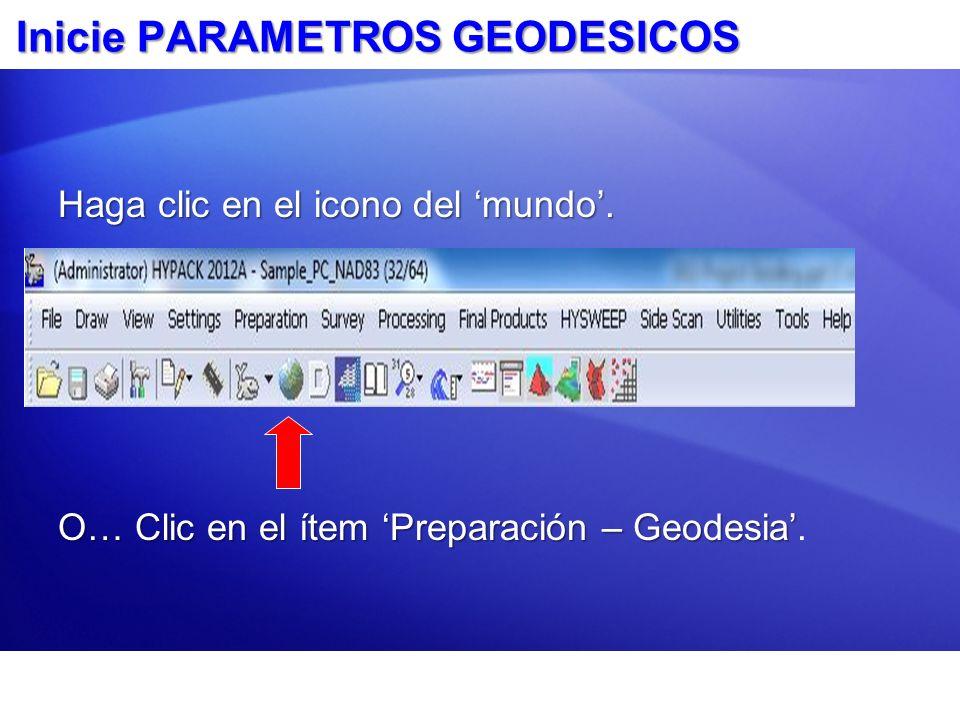 Inicie PARAMETROS GEODESICOS