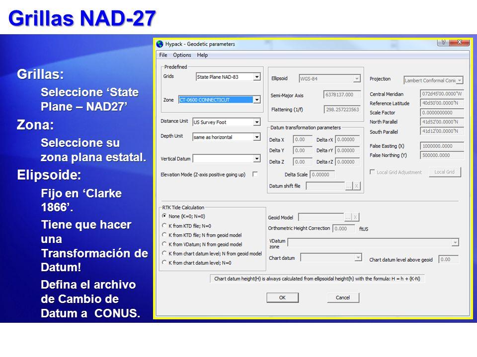 Grillas NAD-27 Grillas: Zona: Elipsoide: