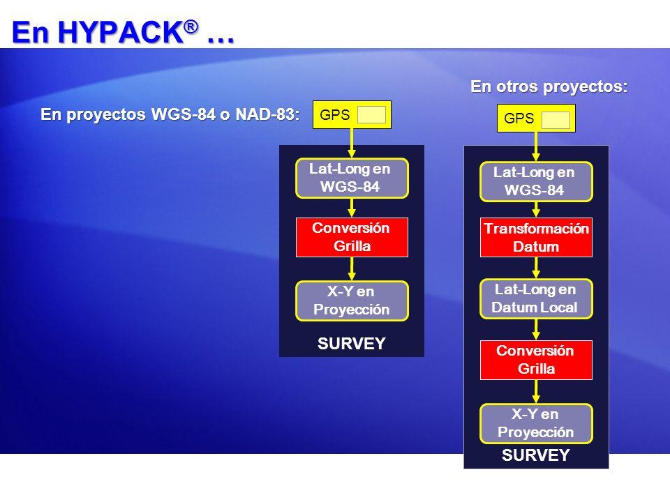 En HYPACK® … En otros proyectos: En proyectos WGS-84 o NAD-83: SURVEY