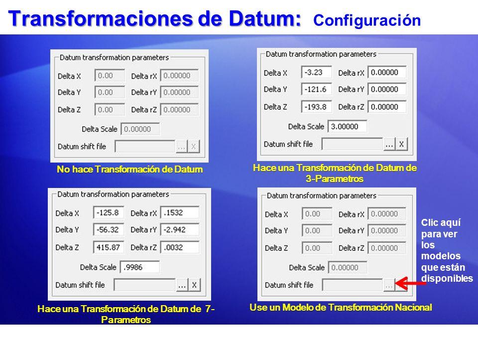 Transformaciones de Datum: Configuración