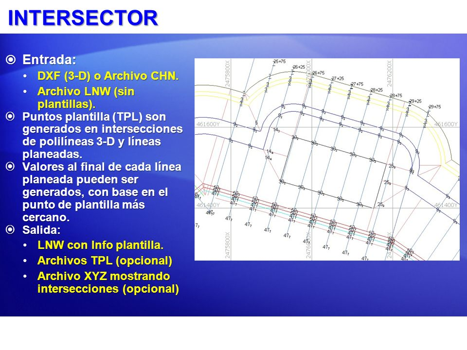 INTERSECTOR Entrada: DXF (3-D) o Archivo CHN.
