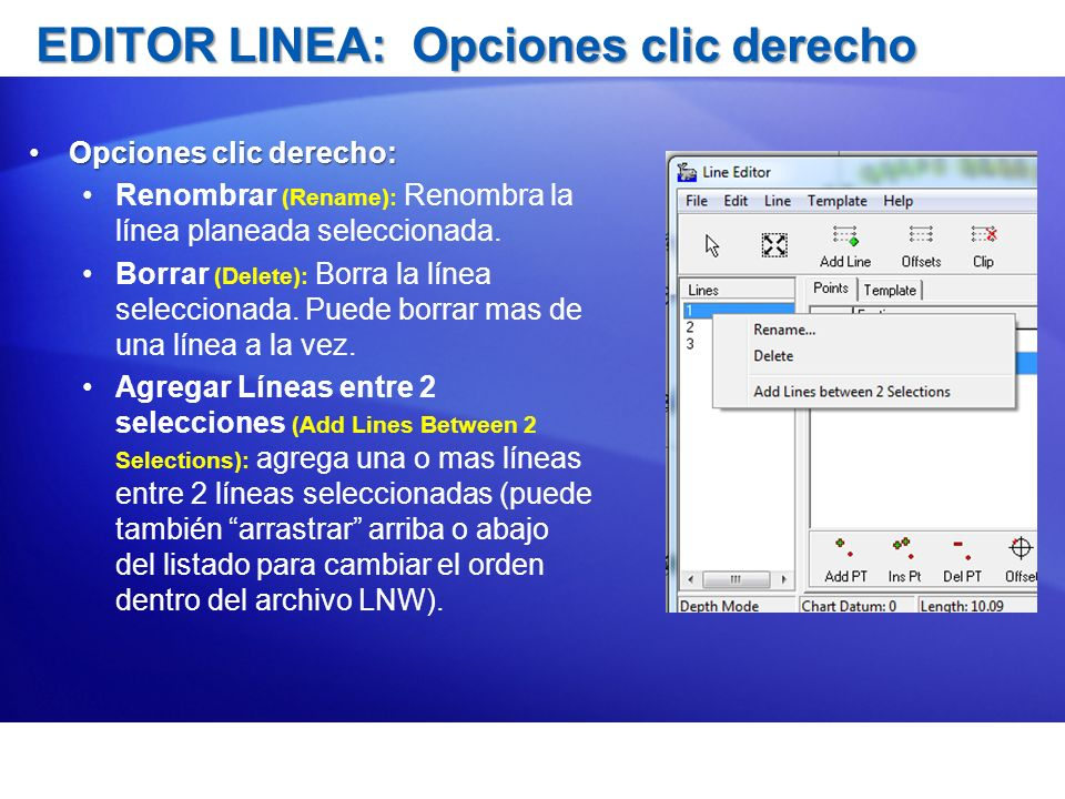 EDITOR LINEA: Opciones clic derecho