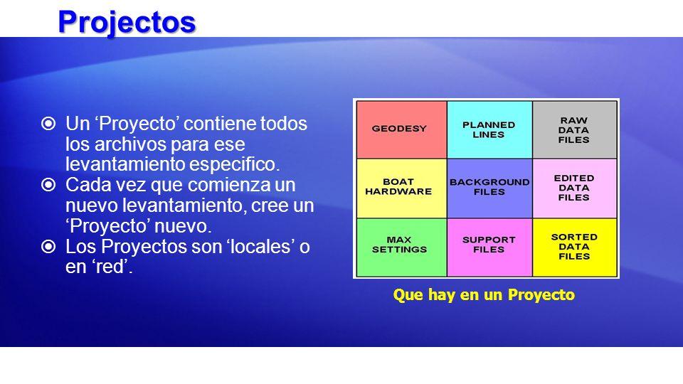 Projectos Un 'Proyecto' contiene todos los archivos para ese levantamiento especifico.