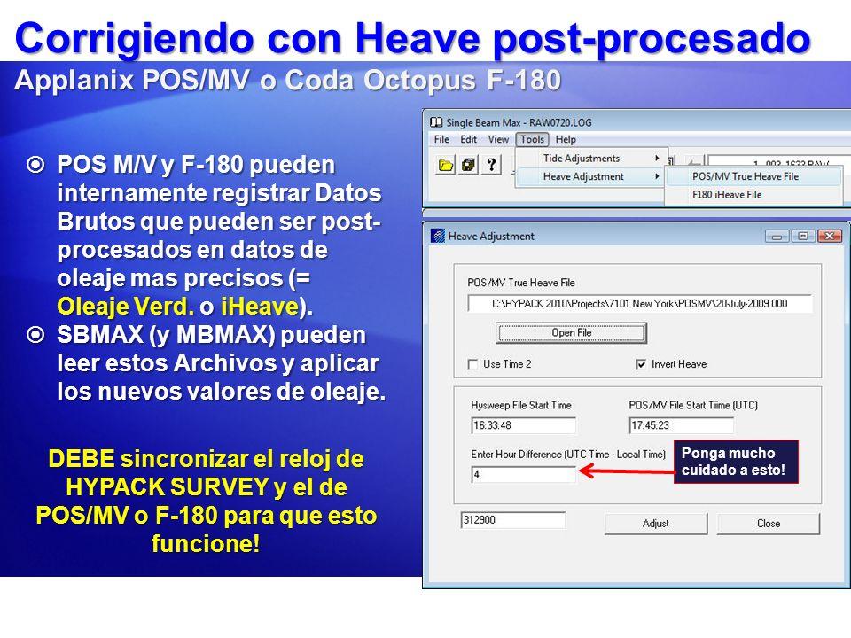 Corrigiendo con Heave post-procesado Applanix POS/MV o Coda Octopus F-180
