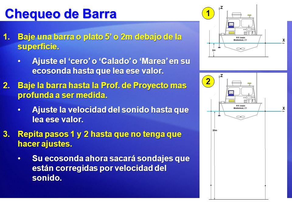 Chequeo de Barra 1. Baje una barra o plato 5' o 2m debajo de la superficie.