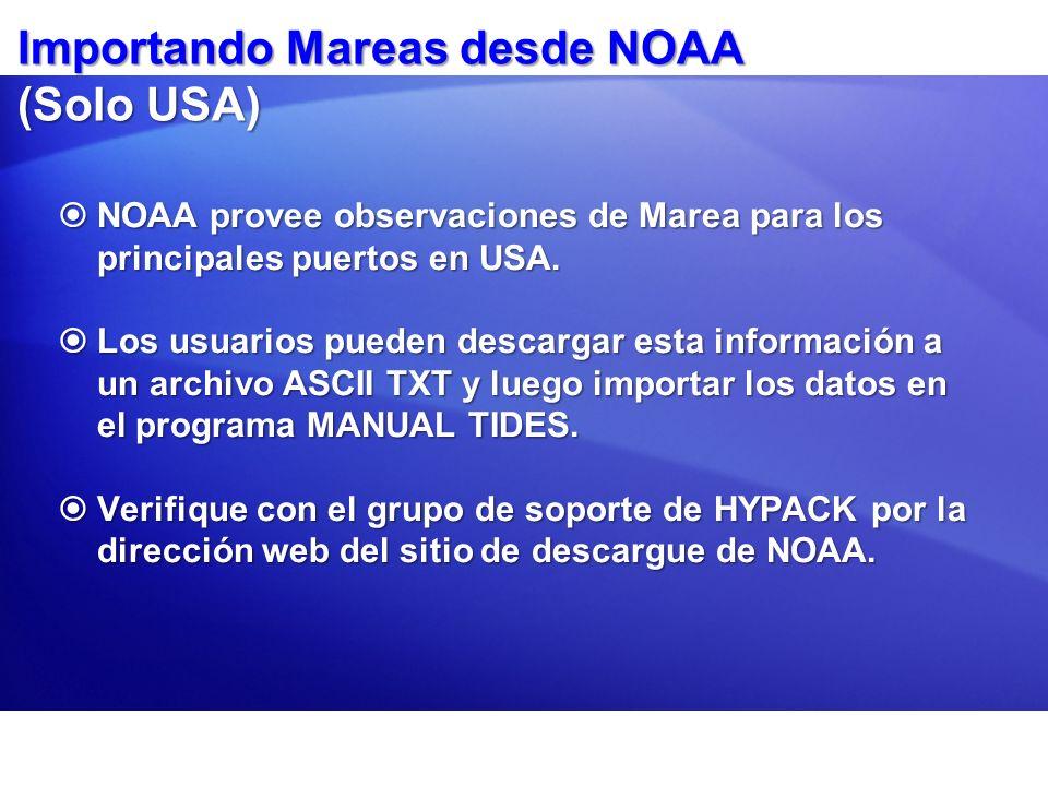Importando Mareas desde NOAA (Solo USA)