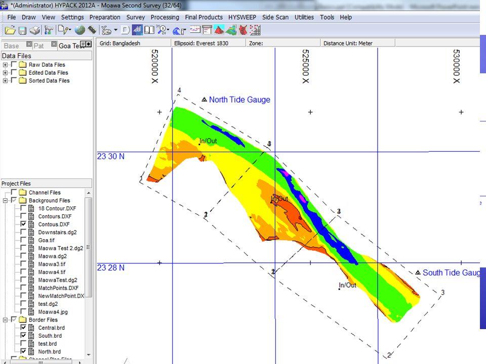 Mareas por Zonas Un archivo de Borde (*.BRD) es usado para describir cada zona. El usuario puede luego calcular el valor de marea: