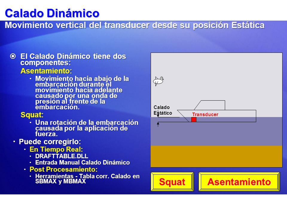 Calado Dinámico Movimiento vertical del transducer desde su posición Estática