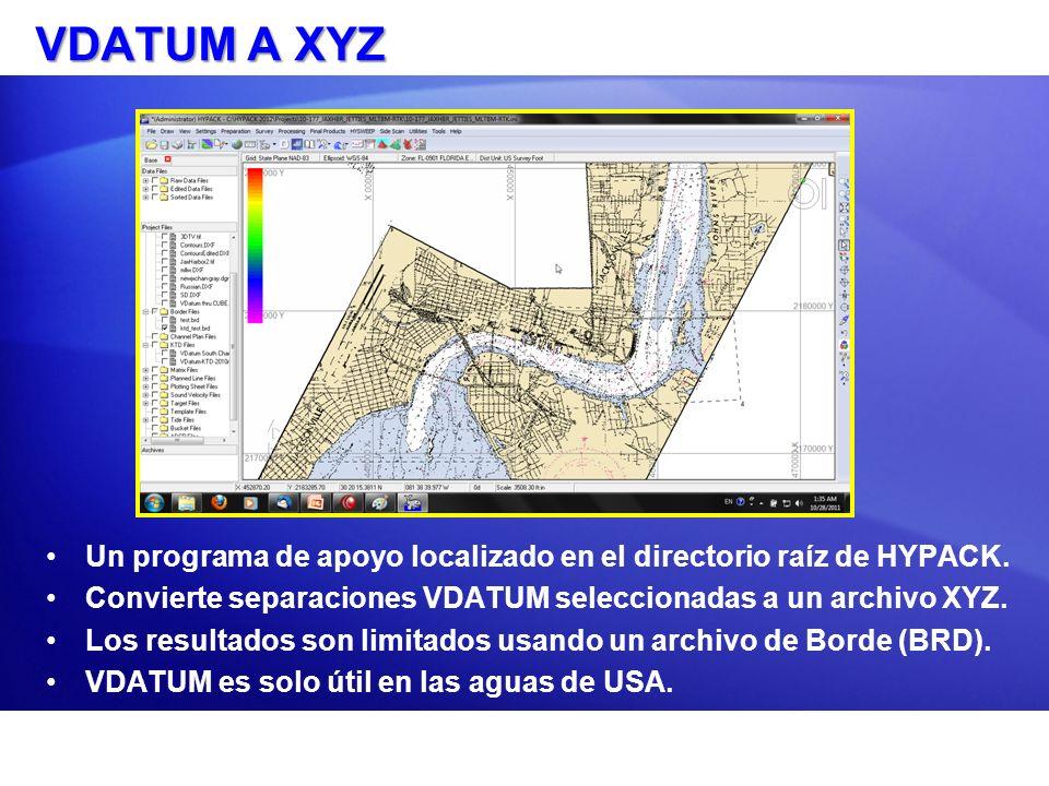 VDATUM A XYZ Un programa de apoyo localizado en el directorio raíz de HYPACK. Convierte separaciones VDATUM seleccionadas a un archivo XYZ.