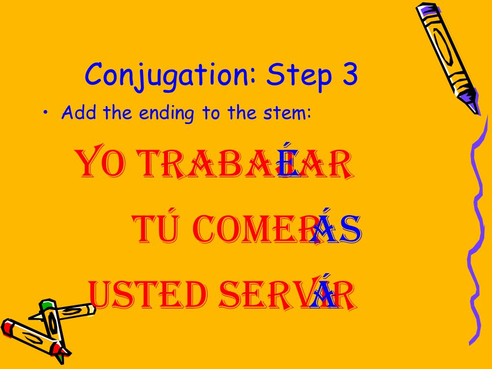 Yo trabajar é Tú comer ás Usted servir á Conjugation: Step 3