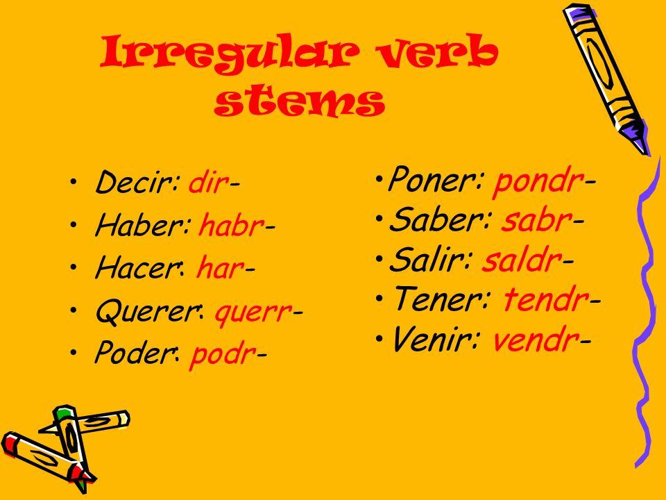 Irregular verb stems Poner: pondr- Saber: sabr- Salir: saldr-