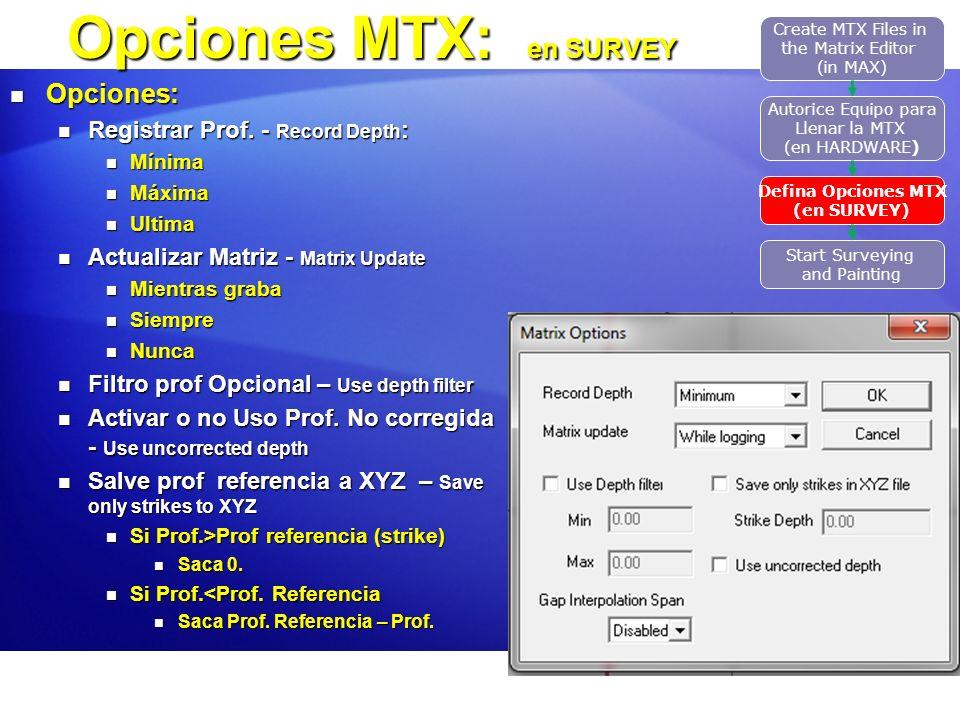 Opciones MTX: en SURVEY