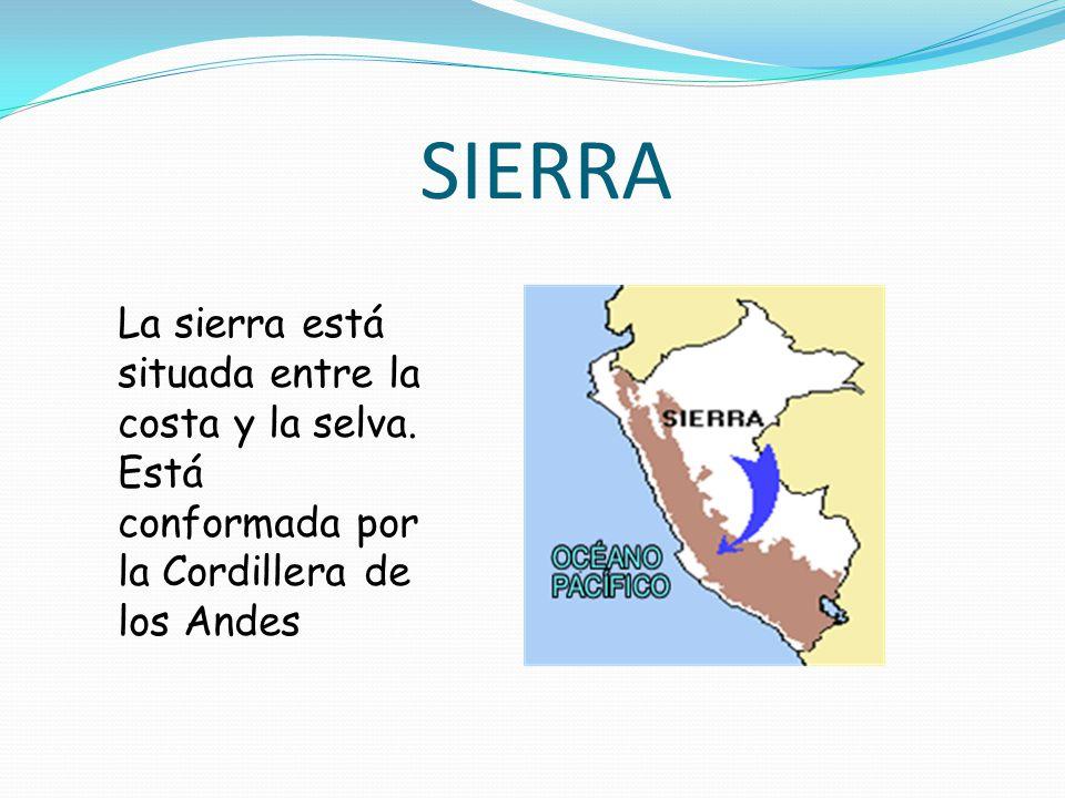 SIERRA La sierra está situada entre la costa y la selva.