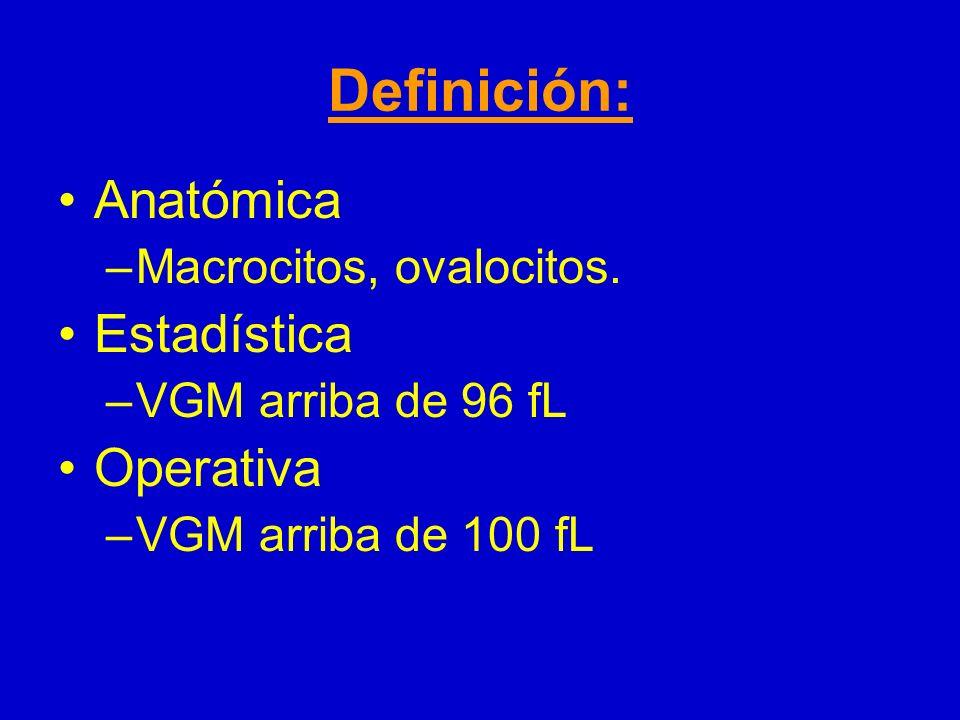 Definición: Anatómica Estadística Operativa Macrocitos, ovalocitos.