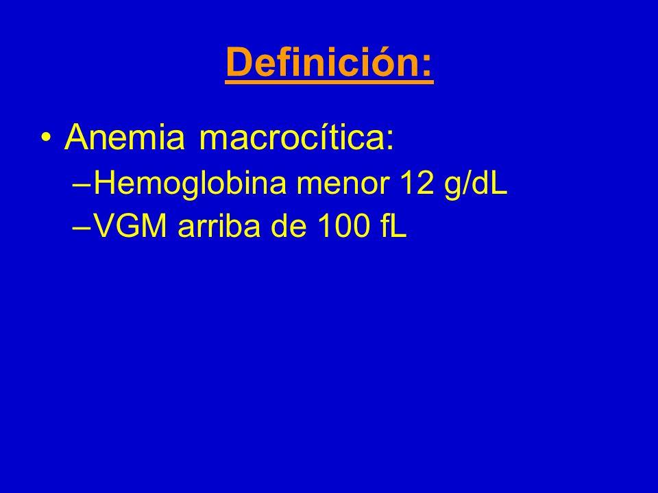Definición: Anemia macrocítica: Hemoglobina menor 12 g/dL