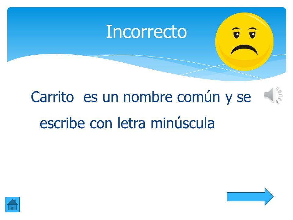 Incorrecto Carrito es un nombre común y se escribe con letra minúscula