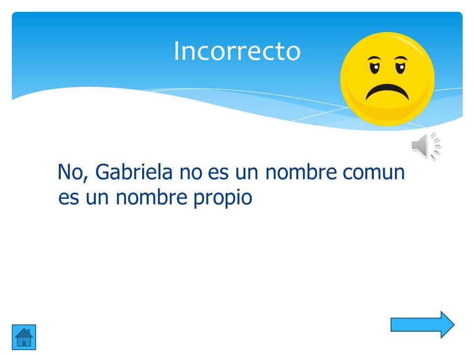 Incorrecto No, Gabriela no es un nombre comun es un nombre propio
