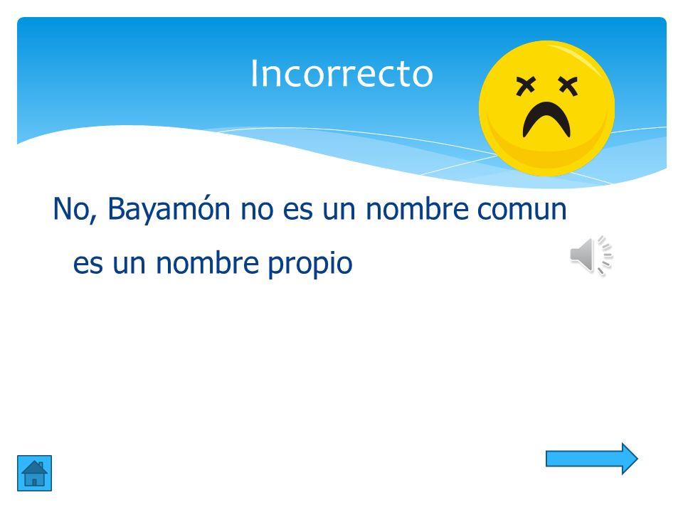 Incorrecto No, Bayamón no es un nombre comun es un nombre propio