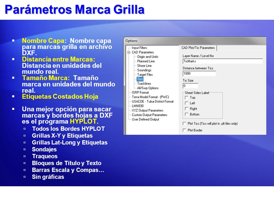 Parámetros Marca Grilla