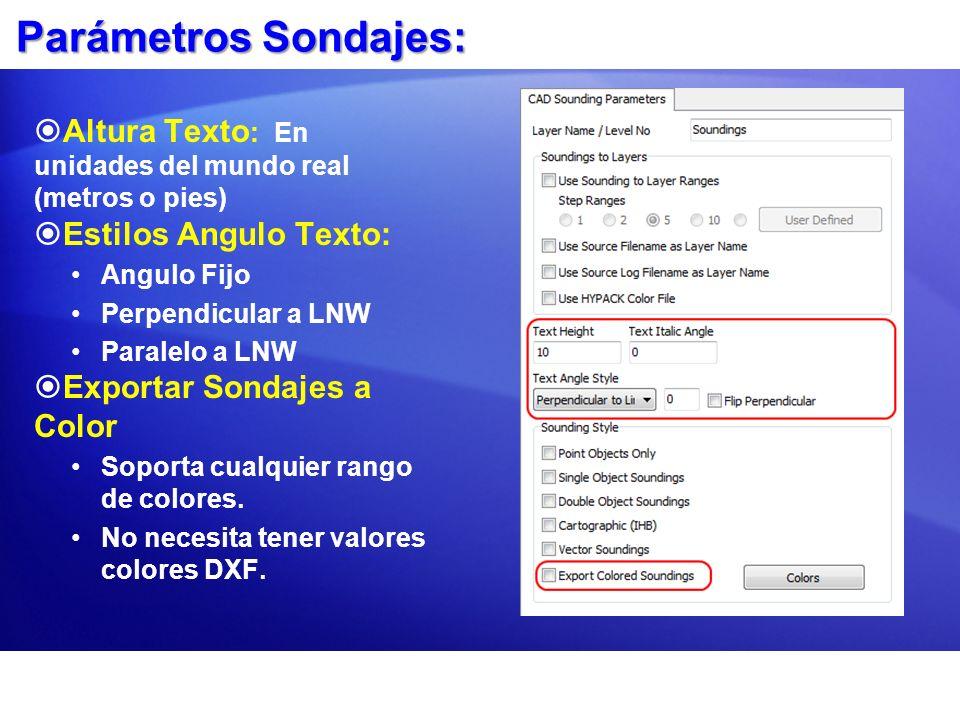 Parámetros Sondajes: Altura Texto: En unidades del mundo real (metros o pies) Estilos Angulo Texto: