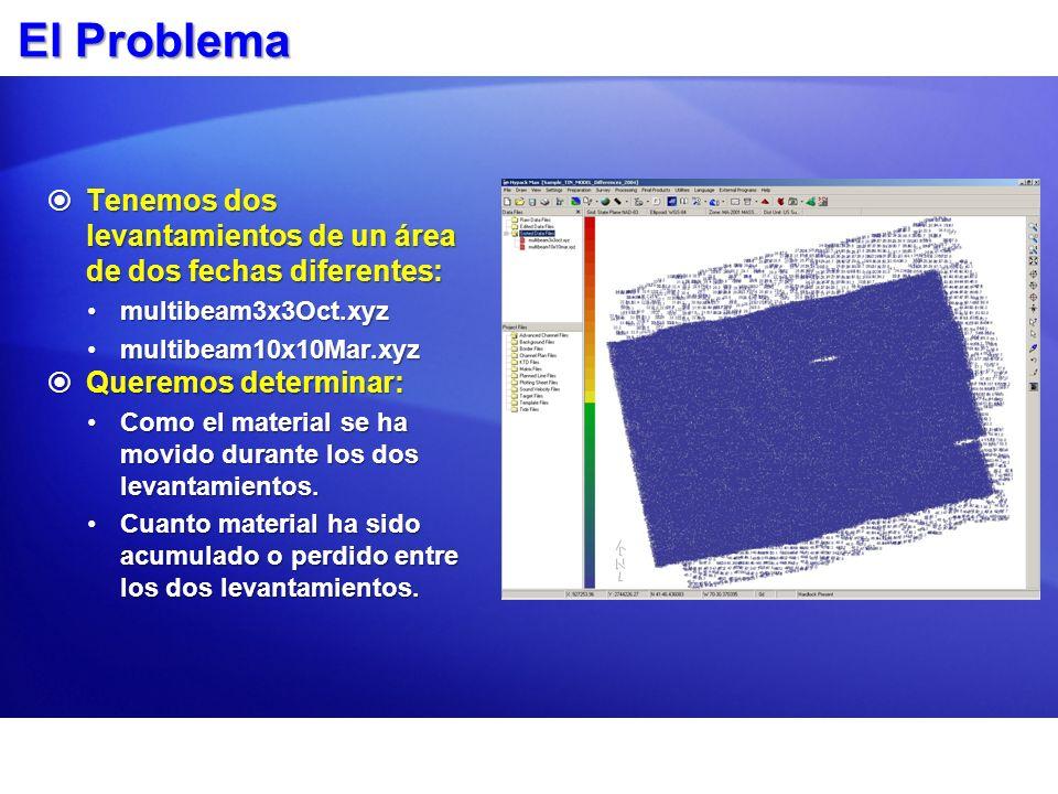 El Problema Tenemos dos levantamientos de un área de dos fechas diferentes: multibeam3x3Oct.xyz. multibeam10x10Mar.xyz.